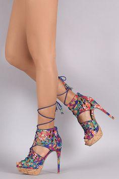 794e294c5c8 Qupid Tropical Cork Platform Peep Toe Heel Peep Toe Heels