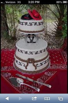 Western wedding cakes- favorite topper!!!!  Plum colored cake, silver details, with black roping (maybe hearts and/or cowboy boots) and 2 cowboy hat toppers (colors depend on the cake colors)