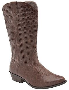 Saddle up in Western style with this ultra-trendy perforated cowboy boot. Designed for comfort in wide widths with a sturdy low heel, this mid-calf boot kicks up your collection, accenting everything from jeans to floral dresses with chic personality. Back zipper for easy entry. lanebryant.com