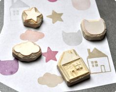 Home feeling hand carved rubber stamps set set of 4