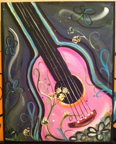 Pink Guitar Original Acrylic Painting on Canvas by HairBySarahCrews Sold out. To…