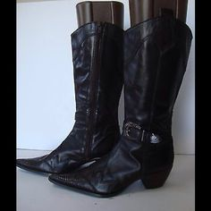 "Selling this ""STEVEN STEVE MADDEN BLACK HARNESS COWBOY BOOTS, 8"" in my Poshmark closet! My username is: backbend31. #shopmycloset #poshmark #fashion #shopping #style #forsale #Steven by Steve Madden #Boots"