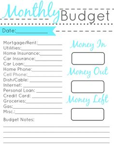Free Printable Budget Sheets  Printable Crush  Money