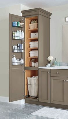 Amazing DIY Bathroom Ideas, Master Bathroom Decor, Bathroom Remodel and Bathroom Projects to help inspire your master bathroom dreams and goals. Small Bathroom Storage, Funky Bathroom, Bathroom Organization, Organization Ideas, Modern Bathroom, Small Storage, Small Bathroom Cabinets, Bathroom Grey, Storage Spaces