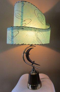 VTG 1950's Eames Era Retro Majestic Table Lamp Boomerang Atomic Dual Drum Shades