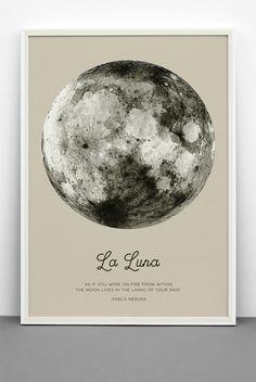 Full Moon Poster. La Luna Moon. Pablo Neruda Quote. Black Moon ...