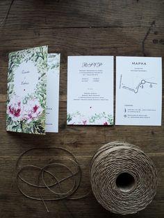 zaproszenia ślubne rustykalne z motywem piwonii, rustic wedding invitations