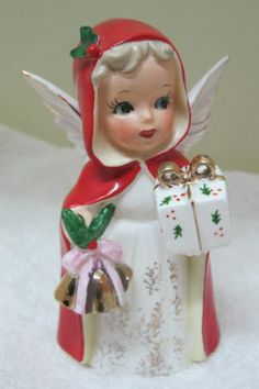 Vintage Japan Christmas Angel Holding Present & Bells w Red Coat & Holly T35