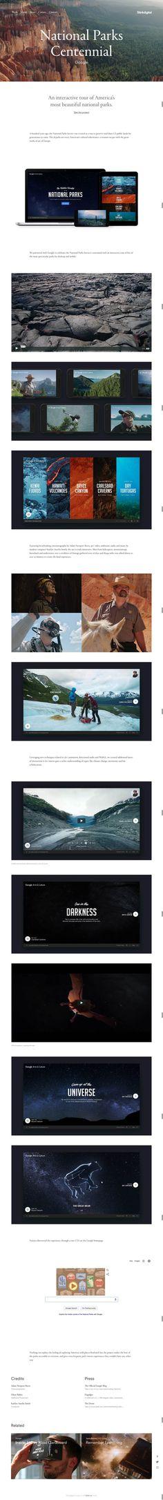 National Parks Centennial — Stink Digital  https://artsandculture.withgoogle.com/en-us/  http://www.stinkdigital.com/work/google-the-hidden-worlds-of-the-national-parks