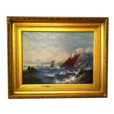 Unsigned, depicting small ships in rough water. In giltwood frame.   Width 27.75 in. x Height 22.75 in. x Depth 2 in. (framed)  Width 19 in. x Height 14 in. (sight)   Condition: appears to be fa...