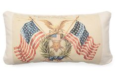 FRENCH LAUNDRY | Freedom 10x20 Cotton Pillow, Red | down insert | 115.00 retail