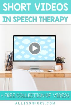 Free collection of short video clips! Using videos in speech therapy is an engaging way to target many important skills, including inferences, emotions, cause/effect, retelling, summarizing, predictions, sequencing, and more for all ages! #ashaigers #iteachk #iteachsped