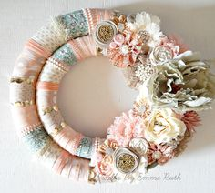 Very Shabby Chic Lace and Girly Double Wrapped Wreath made by Wreaths By Emma Ruth .