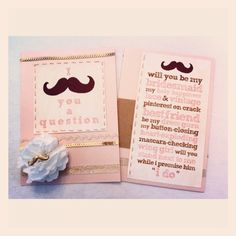 Bridesmaid invitation - made a little design on Publisher w Sketch Rockwell font and printed it, layered the card w different ribbons, made a paper flower w twist tie to secure the mustache ring. :)