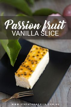 If you love vanilla slice and passionfruit, then you'll love Passionfruit Vanilla Slice which is a must-try dessert for all. This Passionfruit Vanilla Slice is mouthwatering – Yummy yum yum! Sweet Recipes, Cake Recipes, Snack Recipes, Dessert Recipes, Cooking Recipes, Vegetarian Recipes, Passionfruit Slice, Passionfruit Recipes, Healthy Desserts