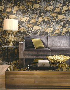Tropical Flamingo wallpaper from Wallpaper Art Deco, Flamingo Wallpaper, Interior Wallpaper, Wallpaper Online, Vinyl Wallpaper, Beautiful Living Rooms, Beautiful Wall, Beautiful Homes, House Beautiful