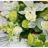 Cassablanca - Classic white and green hand tied bouquet http://www.nzflowers.co.nz/Cassablanca