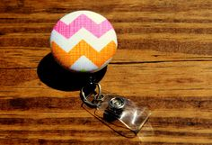 Pink and Orange Chevron Badge Reel, Chevron Badge Reek, Pink Badge, Girly, Retractable,Swivel Clip,RN, CnA, Coach, Teacher, Fabric Badge by TheNerdyFatCat on Etsy