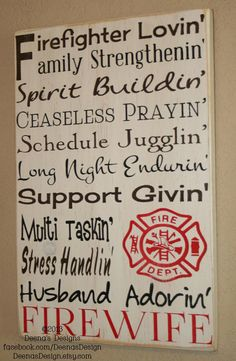 Fire Wife Wall Art, Firefighter Decor, Firefighter Wall Art, Custom Wood Sign - Firewife on Etsy, $41.00