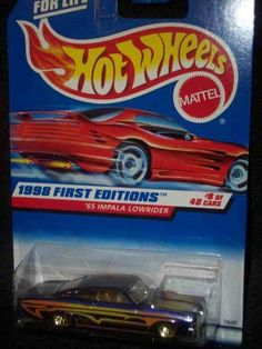 1998 First Editions #8 1965 Impala Lowrider 1998 Red Card #635 Collectible Collector Car Mattel Hot Wheels 1:64 Scale by Mattel. $3.99. Great Investment For Any Hot Wheels Collector.. Perfect Hot Wheels Diecast for every collector!. A Perfect Addition To Any Hot Wheels Collection!. Fun For All Ages! Serious Collectors And Kids Alike!. Diecast Metal Hot Wheels Car Perfect For That Hot Wheels Collector!. 1998 First Editions #8 1965 Impala Lowrider 1998 Red Card #635 Collectible ...
