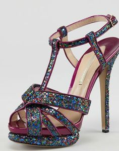 Nicholas Kirkwood Glittered T-Strap Platform Sandal