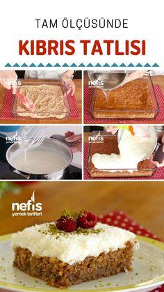 Kıbrıs Tatlısı (videolu) Tarifi nasıl yapılır? 30.743 kişinin defterindeki bu tarifin resimli anlatımı ve deneyenlerin fotoğrafları burada. Yazar: Mukadder Meral Öztürk Dinner Recipes, Dessert Recipes, Sweet Tarts, Turkish Recipes, Cheesecake, Deserts, Food And Drink, Favorite Recipes, Sweets