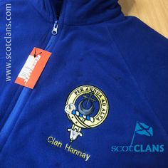 Hannay Clan Crest Embroidered Fleece Jacket. Free Worldwide Shipping Available