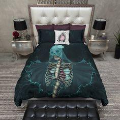 The Teal Bride Skull Duvet Bedding Sets