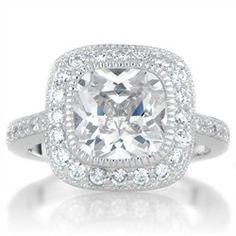 Gina's Vintage Style Halo Cushion Cut CZ Engagement Ring