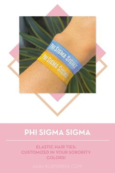 Sorority hair ties are the easiest gift for any celebration: Recruitment, Bid Day, Back to School & Big/Little. Spoil your new sorority girl with a hair tie set! Phi Sigma Sigma Gifts   Phi Sigma Sigma Bid Day   Phi Sig Hair Ties   Phi Sigma Sigma New Pledge Gift   Sorority Bid Day   Sorority Recruitment   Sorority Hair Tie Gifts   Sorority College Gift   Sorority New Member Gift Ideas #SororityGifts #SororityHairTies Sorority Bid Day, College Sorority, Sorority Recruitment, Sorority Gifts, Delta Chi, Phi Sigma Sigma, Kappa Alpha Theta, Bid Day Gifts, Hair Tie Bracelet
