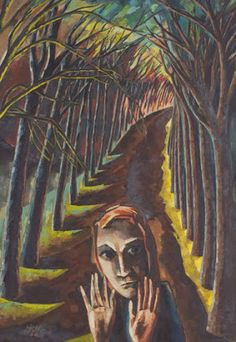 Hannah Höch, Angst (Fear), 1936 (painting) http://weimarart.blogspot.co.uk/2010/08/hannah-hoch-brushflurlets-and-beer.html