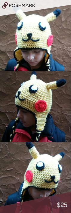 Handmade pikachu earflap beanie Made in all kid sizes Accessories Hats