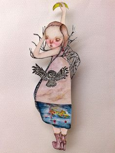 OOAK Original Hand Painted Paper Doll  The by GentlyEthereal