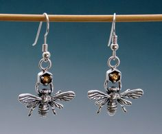 Bee Earrings with Citrine or Other Stone by SheppardHillDesigns