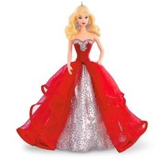 Hallmark Holiday Barbie Ornament: Here she is! Inspired by the 2015 Holiday Barbie Doll, this Keepsake Ornament is a must-have for collectors of all ages and the perfect way to celebrate the Barbie tradition of fabulous holiday fashions. Hallmark Christmas Ornaments, Hallmark Holidays, Hallmark Keepsake Ornaments, Radko Ornaments, Christmas Items, Happy Holidays Barbie, Christmas Barbie, Barbie Collection, Costume Collection
