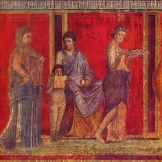 """Ritual of initiation into the Mysteries. Detail of the fresco of the Villa of the Mysteries in Pompeii, painted in the """"second style"""" Pompeii, 60 BC about."""