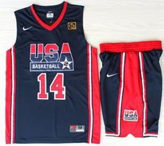 337c80ab1231 USA Basketball 1992 Olympic Dream Team Blue Jerseys   Shorts Suits 14  Charles  Barkley Usa