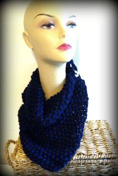 Chunky Thick Knit Handkerchief Style Cowl Scarf  Navy Blue with White Buttons
