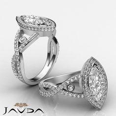 Bezel Marquise Diamond Engagement Cross Shank Ring GIA F VS2 14k W Gold 2.75 ct