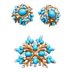 Trifari Turquoise Branch Set | From a unique collection of vintage clip-on earrings at https://www.1stdibs.com/jewelry/earrings/clip-on-earrings/