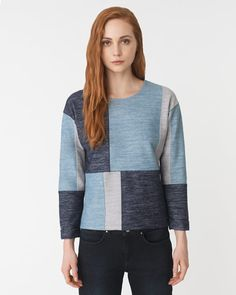 Denim Patchwork Sweatshirt