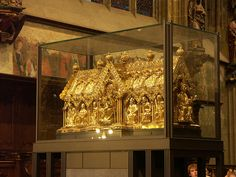 Shrine of the Virgin Mary (1239), contains the cloak of the Blessed Virgin, the swaddling-clothes of the Infant Jesus, the loin-cloth worn by Christ on the Cross, and the cloth on which lay the head of St. John the Baptist after his beheading, Aachen Cathedral,