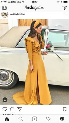 Sexy V Neck High Waist Stitching Ruffled Side Split Yellow Maxi Dress Lovely Dresses, Elegant Dresses, Casual Dresses, Hijab Fashion, Fashion Dresses, Outfit Vestidos, Fiesta Outfit, Mode Abaya, Mother Of Bride Outfits