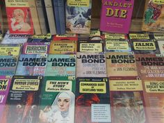 "Shopw window of #Oxfam #books in #Petersgate: ""We really like pulp book covers!"""