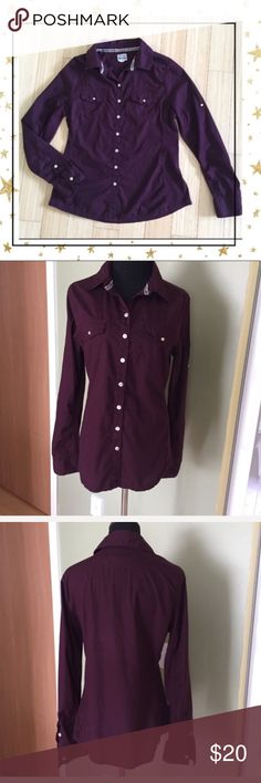 Converse One Star Purple Button Down Shirt (G3N6C) Casual Button down shirt . Pre- owned but in great condition. One button on left sleeve is broken ( see picture) Converse Tops Button Down Shirts