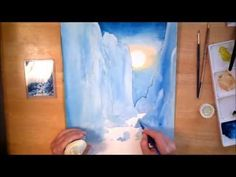 """Moonlight"" time lapse of watercolor painting"