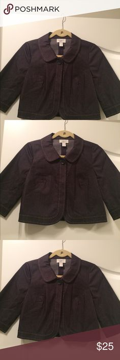 New Ann Taylor Cropped Bolero Jacket New Ann Taylor Loft, Size 2P, Dark Wash Jean Darted & Tailored fit, One button, 3/4 Length Wide Sleeve, Peter Pan Collar, Class Ann Taylor Jackets & Coats