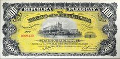 Cédula Paraguai, 1907, 100 pesos,flor de estampa.