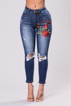 1c508b803897 Long Jeans Women stylish fashion High Waist Skinny Pencil Blue Denim Pants  embroidery ripped hole Stretch Jeans - High Street Whistles