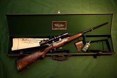 William Evans & Co, London, bolt action rifle and fitted case. Lever Action Rifles, Bolt Action Rifle, Shotguns, Firearms, Hunting Stuff, Shooting Guns, Hunting Rifles, Good Times, Bespoke